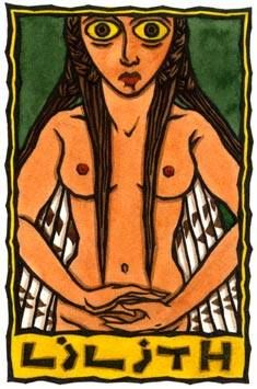 """Lilith is a Sumerian or Babylonian demon Goddess, Who is perhaps better known for Her role in Jewish legend. Called """"The Dark Maid"""" or """"Maiden of Desolation,"""" Lilith is associated with owls and is a creature of the night. She is depicted on a Babylonian clay plaque from 2000-1600BCE as beautiful winged woman with bird's feet and claws. by: Thalia Took"""