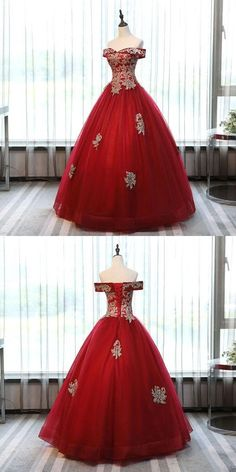 Alluring Tulle Red Off Shoulder Long Prom Dresses With Prom Dreses, Prom Dresses 2018, Unique Prom Dresses, Formal Evening Dresses, Quinceanera Dresses, Ball Dresses, Pretty Dresses, Ball Gowns, Bridesmaid Dresses