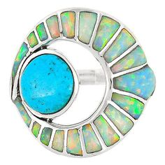 Sterling Silver Flower Ring Turquoise R2240-C74