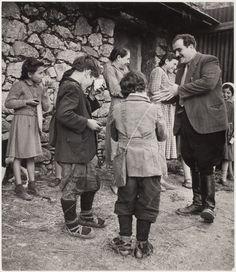 Village school lunch recess, Rogiano Gravina, Calabria, Italy 1950