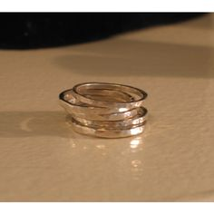 Hammered Skinny Stack Bands or Thumb/Toe Rings in Fine or Sterling... (55 CAD) ❤ liked on Polyvore featuring jewelry, rings, rose ring, 14k toe rings, white ring, sterling silver toe rings and sterling silver rose ring