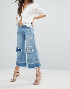 Falda pantalón con roturas y bajo sin rematar Mrs James de One Teaspoon  #fashion #moda #circulogpr #primavera #guapa #happy #love #iloveyou #smilling #style #fashioninspiration #beautiful #asos