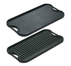 Stove-top griddles. Most are reversible and have a grill on the bottom. Only one real cast iron version is still made in North America. Available at Walmart as of 6/8/15 for $45; http://www.cooksinfo.com/griddles