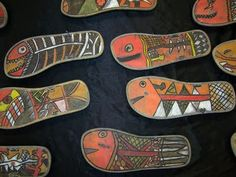 Flip Flop Fish - Art for kids using recycled materials and inspired by Australian Aboriginal X-ray art.