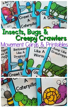 Insect activities for preschool or kindergarten! Use these with your insect, bugs, and creepy crawlers unit. Use them as a preschool brain break or for preschool gross motor time. Make movement a part of learning! Insect Activities, Pool Activities, Fine Motor Activities For Kids, Movement Activities, Music Activities, Physical Activities, Preschool Science, Preschool Lessons, Preschool Learning
