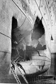 Damage to Hold # 1 of the ss Volendam (I) caused by the torpedo.