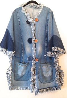 An amazing piece of vintage. This denim jacket has no tag and was likely handmade with love over 20 years ago. Absolutely beautiful plus-size clothing made with various types of denim and accented with awesome fringe. Please note: this piece should be hand washed or washed alone due to the fraying of fringes Measurements: Top to bottom of jacket is 35 inches Sleeve opening is 13 inches across (26 inches circumference) Bust, Waist and Hips are 48 inches Thrifted in TEXAS Each p...