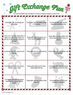 Love this fun twist on traditional gift exchange games! Free printable cards inspired by the 12 days of Christmas to use for swapping gift exchange gifts and some even some fun gift ideas if you need some ideas. Christmas Friends, Christmas Gift Exchange Games, Xmas Games, Holiday Games, Noel Christmas, Christmas Activities, Christmas Printables, Family Christmas, Christmas Traditions