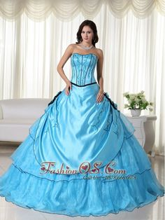 Aqua Ball Gown Strapless Floor-length Organza Beading Quinceanera Dress- $198.89  http://www.fashionos.com  http://www.facebook.com/quinceanera.fashionos.us  If you're a fan of the fancier, finer things in life – this might just be the dress for you. It features a gorgeous strapless bodice with embroidery embellishments, a sweetheart neckline and three hand-made flowers on both side with more shimmery beading in the center of the flower which make the dress more dazzling.