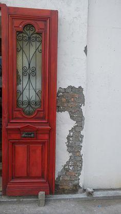 Antique-style door in Garosugil, Seoul, Korea.