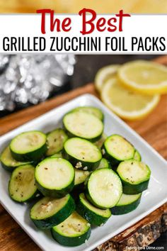 Grilled Zucchini Foil Pack Recipe is the easiest side dish and clean up is a breeze. The veggies have the best flavor from the grill and it is so frugal. Bbq Zucchini, Zucchini Vegetable, Grilled Zucchini Recipes, Zucchini Side Dishes, Zucchini Lasagne, Grilled Avocado, Grilled Vegetables, Avocado Recipes, Side Dishes Easy