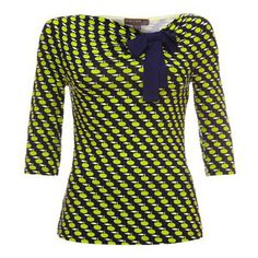 Fever London Apple Bow Top marin/vit/limegrön Bow Tops, Dresses With Sleeves, Bows, Apple, London, Long Sleeve, Women, Fashion, Gowns With Sleeves