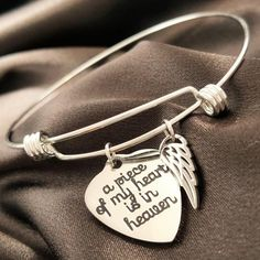 This delicate bracelet, accompanied with a heart shaped pendant and adorned with a small angel wing provides a subtle way to commemorate the loved ones we have lost, yet they will hold a special place in our heart forever. It serves as a reminder that our angels in heaven are always with us and at the same time offers emotional healing in times of struggle.