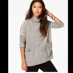 NWT Free People Pullover Super soft and lightweight yet cozy turtleneck pullover featuring front slip pockets, in a slouchy fit. High low hem with side vents. Contrast trimming. No trades. Generous discount with bundle. Free People Sweaters