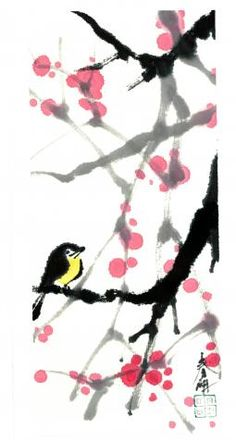 sumi-e painting, chinese, japanese, watercolor      Sumi-e painting by Tsun Ming Chmielinski