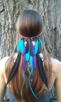 Rain Dance, plume, serre tête, natif, américaine, style, indien, hippie, Bohème, mariage, voile, Crushed, bleu, violet, boho, gypsy, edm