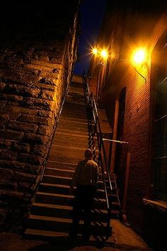The Exorcist stairs in Washington DC. Really exist and are very public, linking Prospect Street to the busy thoroughfare of M Street, NW. This is the famous movie staircase where Father Damien Karras tumbled to his death.