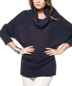 Another great find on #zulily! Navy Cowl Neck Sweater #zulilyfinds