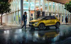Download wallpapers Volkswagen T-Roc, 2018, exterior, crossover, new yellow T-Roc, German cars, Volkswagen