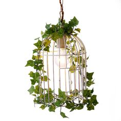 鳥かご型ペンダントライト(1灯:ホワイト/ブラウン)装飾用グリーン付き | 【公式】LOWYA(ロウヤ)|家具・インテリアのオンライン通販 Decor, Lighting, Wreaths, Home, Hoop Wreath, Home Decor