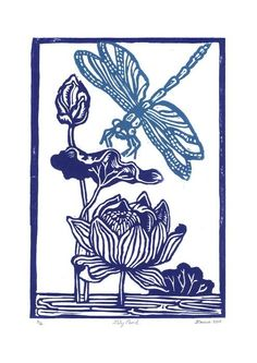Dragonfly and Waterlily - colour linocut handprinted artwork