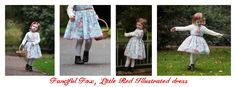 Little Red illustrated dress available in age 1-5 price £42.00 find us on facebook via this link https://www.facebook.com/fancifulfoxs Photography by Jo Blackwell joblackwellphotography.co.uk