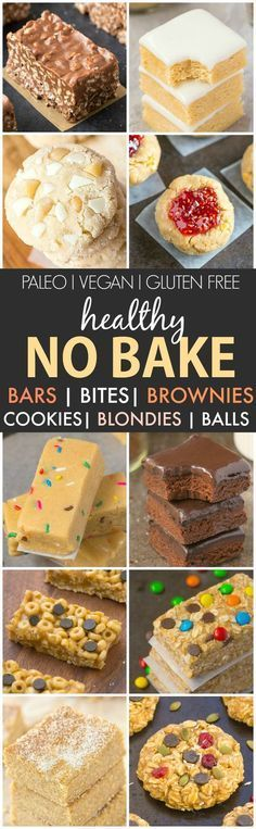 Healthy No Bake Snacks- {V, GF, P, DF)- Easy, quick and delicious No Bake sweet snacks, bites, balls, and desserts- Ready in minutes and options for all! {vegan, gluten free, paleo recipe}- thebigmansworld.com