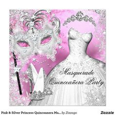 Shop Pink Silver Princess Quinceanera Masquerade Invitation created by Zizzago. Masquerade Party Invitations, Sweet 16 Masquerade, 50th Birthday, Quinceanera, White Envelopes, Mardi Gras, Aurora Sleeping Beauty, Princess, Unique