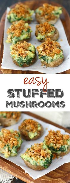 These easy stuffed mushrooms are perfect for your next party! They're stuffed wtih potatoes and spinach and topped with buttery breadcrumbs.