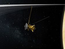 """Cassini nombres fase misión Final su 'gran final'.   Con la ayuda del público, los miembros de la misión Cassini de la NASA han decidido llamar órbitas final de la nave espacial """"Cassini gran final."""" Crédito de la imagen: NASA/JPL-Caltech. With input from the public, team members on NASA's Cassini mission to Saturn have chosen a name for the final phase of the mission."""
