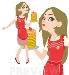 Housewife Clipart Woman with an apron Clipart by MagicalStudio