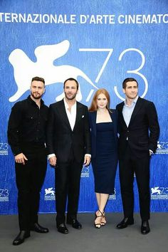 Aaron Taylor Johnson, Tom Ford, Amy Adams and Jake Gyllenhaal attend a photocall for 'Nocturnal Animals' during the 73rd Venice Film Festival at Palazzo del Casino on September 2, 2016 in Venice, Italy.