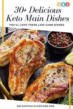 Are you eating low-carb or on a keto diet? These keto main dishes are some of our favorite things to see on this diet. They're easy to make and help you eat the right foods for your diet so you can lose more weight. Check out these recipes today. Best Low Carb Recipes, Best Dinner Recipes, Summer Recipes, Dinner Dishes, Main Dishes, Grilled Cauliflower, Keto, How To Grill Steak, Pork Ribs