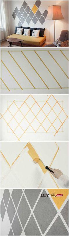 Rinnovare una stanza della tua casa a partire da una parete: ecco come fare http://it.dawanda.com/tutorial-fai-da-te/bricolage/come-dipingere-parete-rombi-colorati