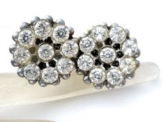 Vintage-Shoe-Clips-with-Clear-Rhinestone-Wedding-Flower-Jewelry-Silver