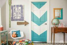 chevron/arrow color block door tutorial @diyshowoff #nursery #colorblock