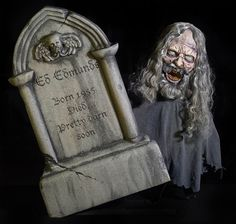 Swanky GRAVESTONE GEEZER FRIGHTRONIC. Exclusive stock of Scary, Gothic & Vampire Outdoor Yard Signs for Halloween at CostumePub. Animated Halloween Props, Halloween Scene, Halloween Masks, Halloween Crafts, Scary Halloween, Haunted Graveyard, Haunted Houses, Halloween Express, Halloween Animatronics