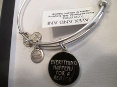Authentic Alex and Ani Everything Happens For a Reason Silver Charm Bangle…