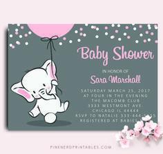 ELEPHANT BABY SHOWER INVITATION ELEPHANT HOLDING BALLOON BABY SHOWER INVITATION - Pink Nerd Printables