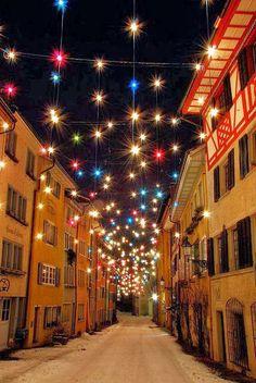 Christmas time in Baden, Switzerland Christmas World, Christmas Time Is Here, All Things Christmas, Wonderful Places, Wonderful Time, Beautiful Places, Beautiful Pictures, Holiday Lights, Christmas Lights