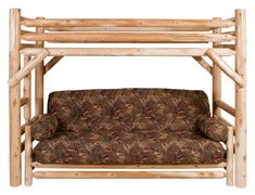 Twin Loft Bed by Best Craft Furniture . Bring a little bit of the outdoors inside with this loft bed & EZ lounger sofa! Lodge Furniture, T Craft, Bunk Beds, Fun Crafts, Love Seat, Twin, Loft, Outdoors, Couch