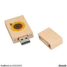 Sunflower Wood USB Flash Drive