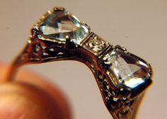 Vintage diamond bow tie ring