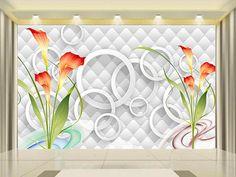3d room wallpaper custom photo non-woven mural Calla lily circles decoration painting 3d wall mural wallpaper for walls 3d #Affiliate