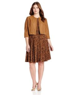 Jessica Howard Women's Plus-Size Long Sleeve Printed Dress with Jacket, Brown, 18W |
