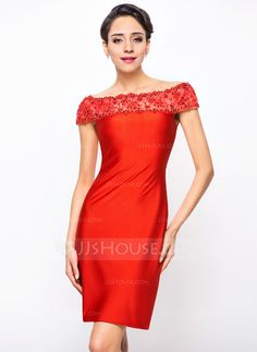 Sheath/Column Off-the-Shoulder Knee-Length Jersey Cocktail Dress With Lace Beading Sequins (016055938)
