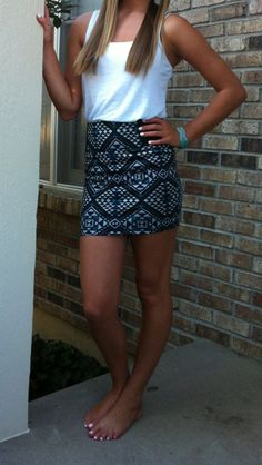 Aztec skirt with white tank