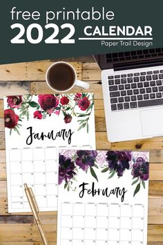 Use our beautiful free printable 2022 calendar with floral designs to stay organized without sacrificing style. Free Printable Calendar Templates, Printable Crafts, Printable Wall Art, Free Printables, Gold Banner, Floral Printables, Paper Trail, Calendar Pages, Easy Diy Crafts