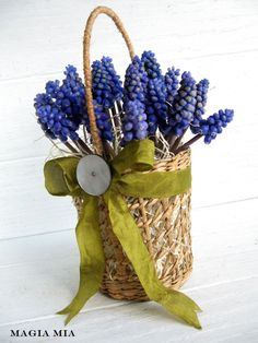 Spring Basket made with Wicker Glass Holder