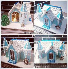 Piparkakkulinnaa Frozenin henkeen! ❄ Linnan sisällä led-kynttilät tuomassa tunnelmaa.